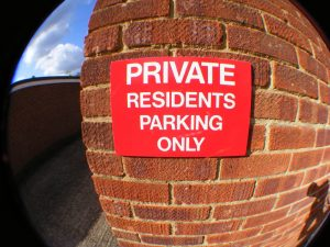 PRIVATE, RESIDENTS PARKING ONLY, Sign