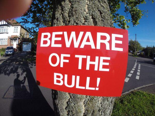 BEWARE OF THE BULL, Sign