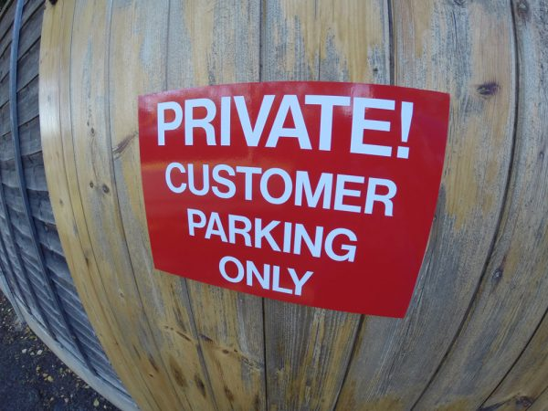 PRIVATE CUSTOMER PARKING, Sign