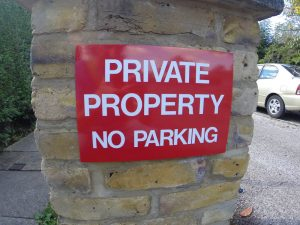 PRIVATE PROPERTY NO PARKING, Sign